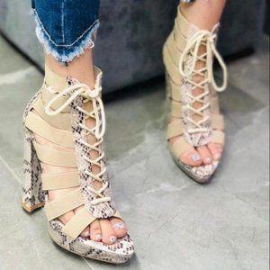 Nude Snakeskin Platform Lace Up Heels